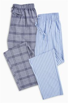 Check/Stripe Woven Long Bottoms Two Pack