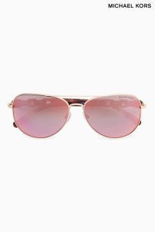 Michael Kors Tortoiseshell Pandora Chain Arm Aviator Sunglasses