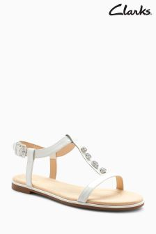 Clarks White Bay Blossom Jewel T-Bar Sandals