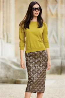 Textured Jacquard Skirt