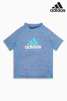 adidas Grey/Blue Logo Rash Vest