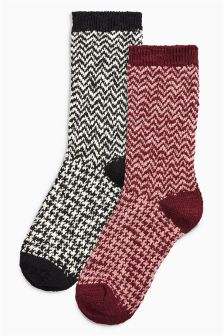 Thermal Dogtooth Boot Socks Two Pack