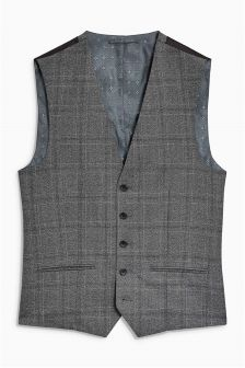 Textured Check Suit: Waistcoat