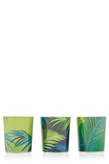 Set Of 3 Palm Leaf And Guaicwood Votives