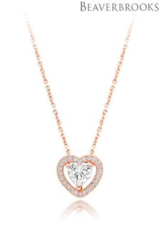 Beaverbrooks Rose Gold Plated Cubic Zirconia Halo Heart Pendant