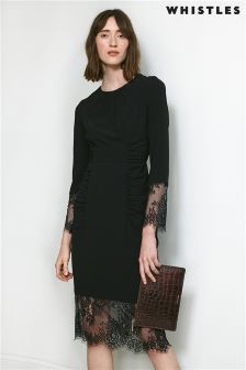 Whistles Black Izzy Lace and Crepe Dress