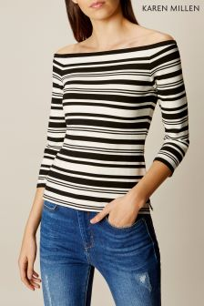 Karen Millen Black/Ivory Bardot Shoulder Stripe Top