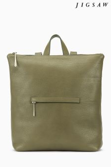 Jigsaw Green Stevie Zip Top Backpack