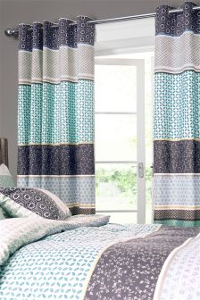 Origami Pattern Eyelet Curtains