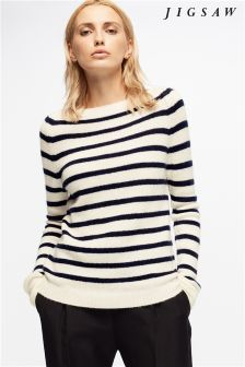 Jigsaw Black Edie Stripe Cashmere Jumper