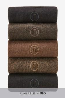 Brown/Black N Embroidered Socks Five Pack