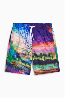 Beach Print Swim Shorts (3-16yrs)