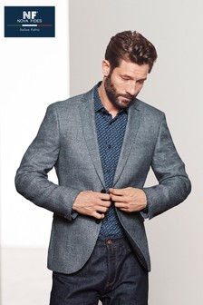 Textured Linen Blend Slim Fit Jacket