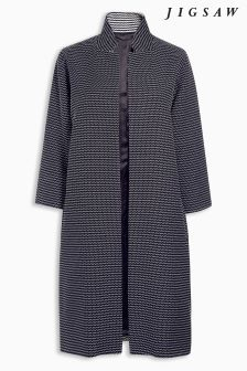 Jigsaw Blue Speckled Textured Coat