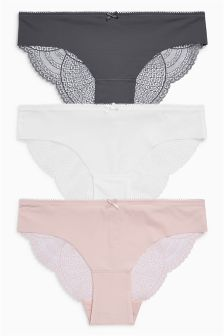No VPL Lace Brazilian Briefs Three Pack