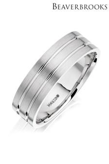 Beaverbrooks Mens Palladium Wedding Ring