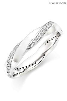 Beaverbrooks Silver Cubic Zirconia Twist Ring