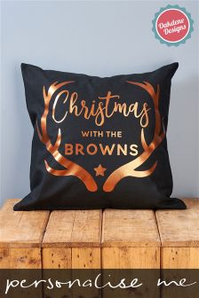 Personalised Metallic Copper Stag Christmas Cushion By Oakdene