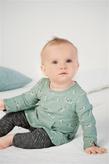 Cat Print Tunic And Leggings Set (0mths-2yrs)