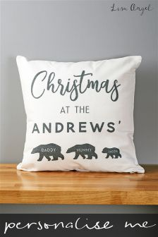 Personalised Bear Family Christmas Cushion By Oakdene