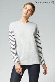 Warehouse Grey Stripe Sleeve Top