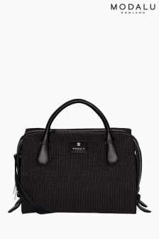 Modalu Black Tweed Willow Triple Compartment Grab