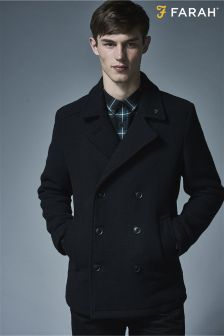 Farah Navy Double Breasted Wool Peacoat