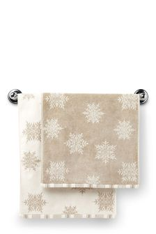 Set Of 2 Snowflake Hand Towels