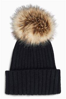 Rib Knitted Pom Hat
