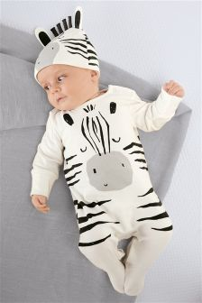 Zebra Sleepsuit And Hat (0mths-2yrs)