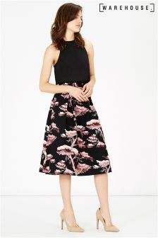 Warehouse Black Oriental Forest Midi Dress