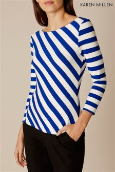 Karen Millen Blue Striped Ponte Knit Top