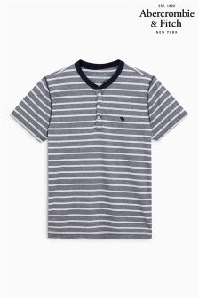 Abercrombie & Fitch Grey/White/Navy Stripe Poloshirt