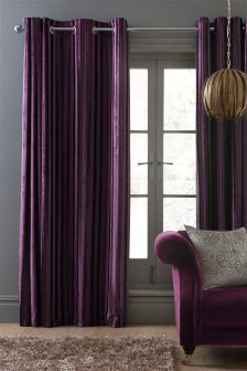 Velvet Stripe Eyelet Curtains