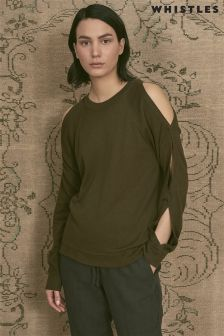 Whistles Khaki Open Weave Off Shoulder Sweater