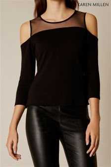 Karen Millen Black Cold Shoulder Mesh Yoke Top