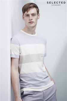 Selected Homme Blue Thick Stripe T-Shirt