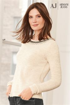 Armani Jeans Cream Embellished Neck Knit Jumper