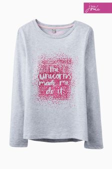 Joules Grey Bessie Unicorn Top