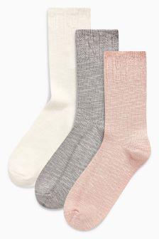 Textured Ankle Socks Three Pack