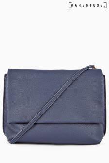 Warehouse Navy Buff Grainy Cross Body Bag