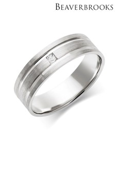 Beaverbrooks Mens 9ct White Gold Diamond Wedding Ring