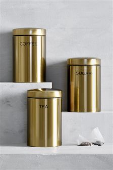 Set Of 3 Gold Effect Storage Jars