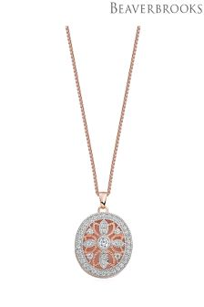 Beaverbrooks Silver Rose Gold Plated Cubic Zirconia Locket