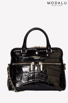 Modalu Pippa Black Croc Chained Crossbody Bag