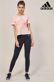 adidas Black/Pink Essential 3 Stripe Tight