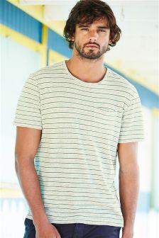 Stripe Linen Mix T-Shirt