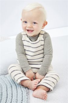 Stripe Fleece Dungarees (0mths-2yrs)