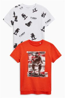 T-Rex T-Shirts Two Pack (3-16yrs)