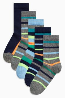 Bright Stripe Socks Seven Pack (Younger Boys)